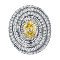 2.01 Carat GIA Certified Fancy Light Yellow Diamond White Gold Cocktail Ring
