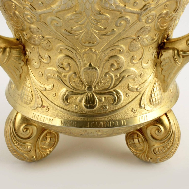 Russian Revival 19th Century Russian Imperial Gem-Set Gilded Silver Trophy Cup by Ovchinnikov For Sale