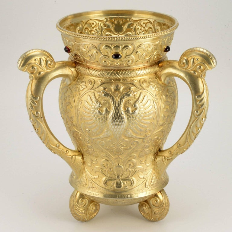 Women's or Men's 19th Century Russian Imperial Gem-Set Gilded Silver Trophy Cup by Ovchinnikov For Sale