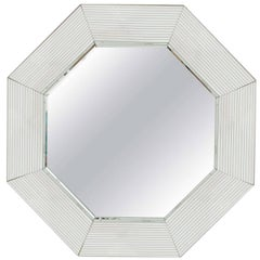 Vintage Modern Octagonal Wall Mirror in the Style of Karl Springer, 1970s