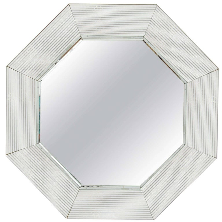 1970s Modern Octagonal Wall Mirror in the Style of Karl Springer