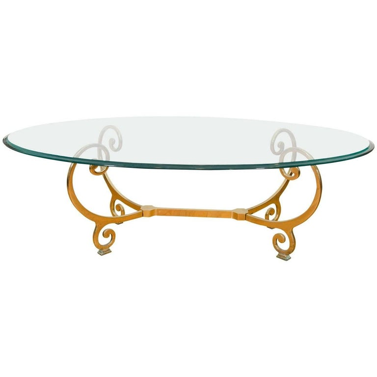 Vintage Brass And Glass Oval Coffee Or Cocktail Table For Sale At 1stdibs