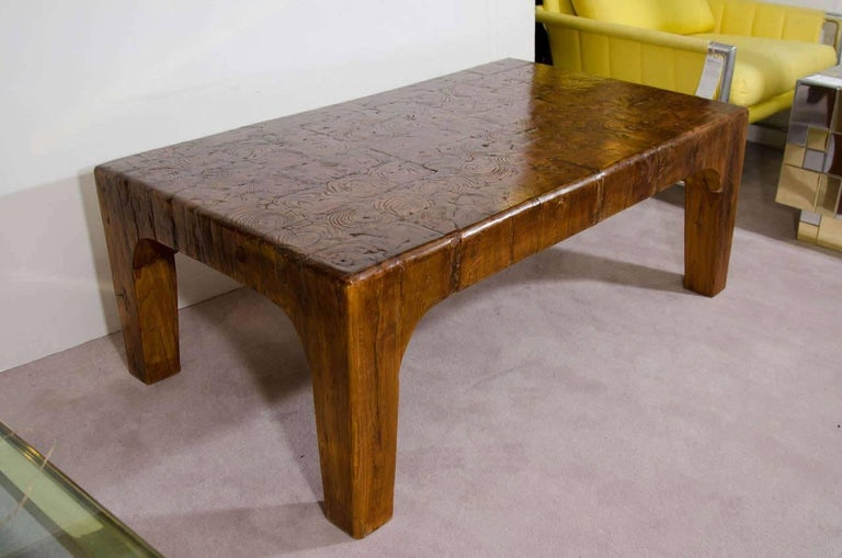 Vintage Natural Wood Block Rectangular Coffee Or Cocktail Table For Sale At 1stdibs