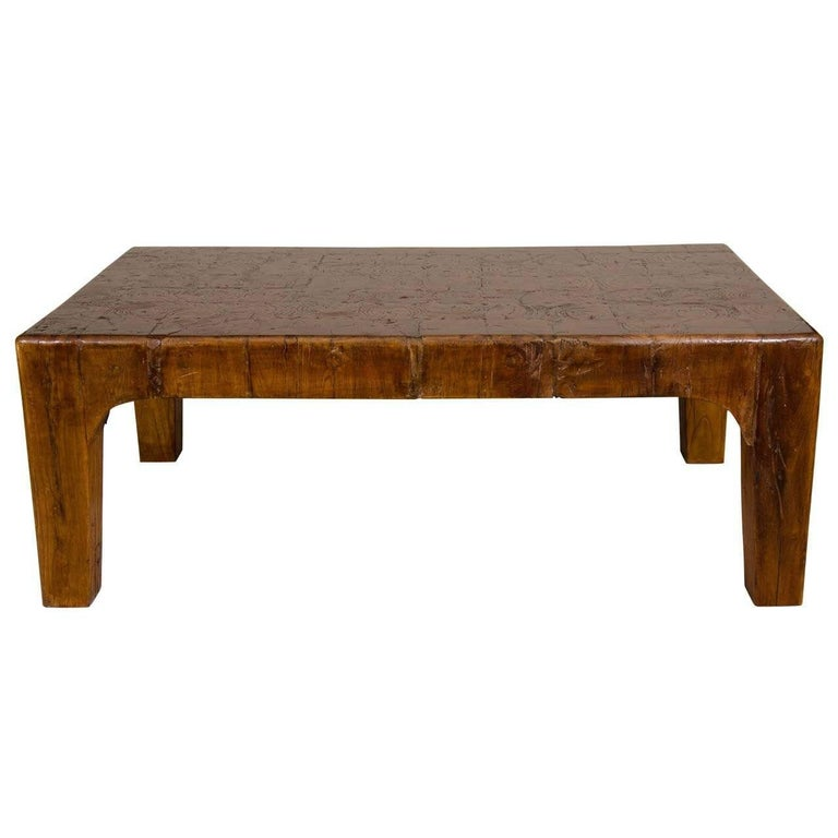Vintage Natural Wood Block Rectangular Coffee or Cocktail Table