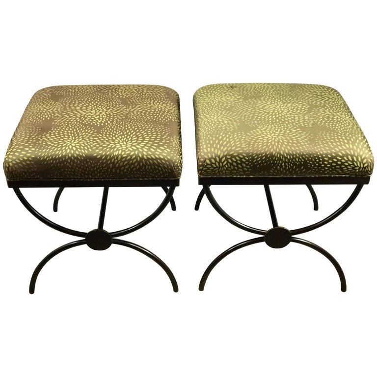 Pair of Maison Jansen Style Curule Benches with Missoni Fabric