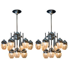 Mid-Century Modern Pair of Sciolari Chrome and White Textured Glass Chandeliers