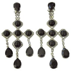 1940s Runway Pair Onyx Diamente Sterling Chandelier Earrings-Provenance