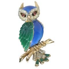1960 Rare Beautiful Signed Crown Trifari Jeweled Owl Brooch