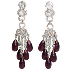 Robert Sorrell Faux Diamond Amethyst Chandelier Earrings