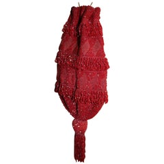 Sophisticated Art Deco Deep Red Beaded Flapper Evening Bag with Tassel