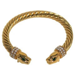 Jackie Collins Gold Plate Panther Bangle Bracelet