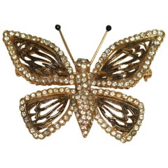 Vogue Articulated Gold Plate Diamante Butterfly Brooch Enameled