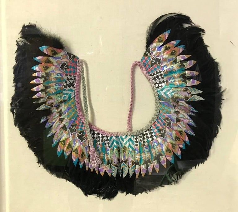 Hand-Crafted K. Lee Manuel Framed Hand Painted Feather and Textile Wearable Necklace/ Collar For Sale