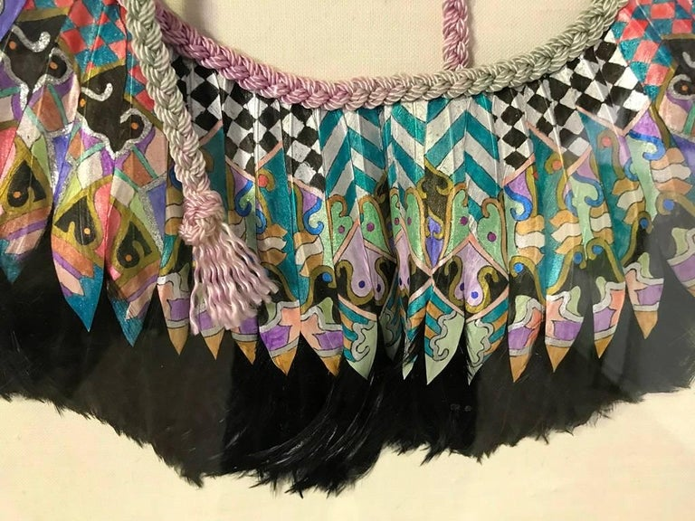 Leather K. Lee Manuel Framed Hand Painted Feather and Textile Wearable Necklace/ Collar For Sale