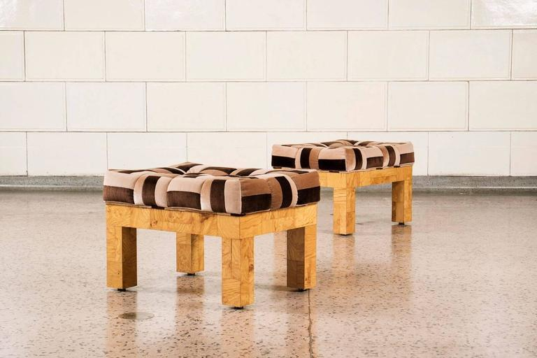 Cityscape designed by Paul Evans Studio for Directional. Maple burl wood with original Jack Lenor Larsen cotton velvet in great condition.