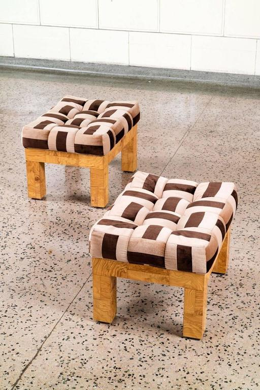 Paul Evans Pair of Upholstered Stools In Excellent Condition For Sale In Chicago, IL