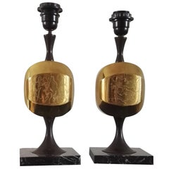 Pair of Etched Brass and Marble Table Lamps by Barbier, France, 1970s