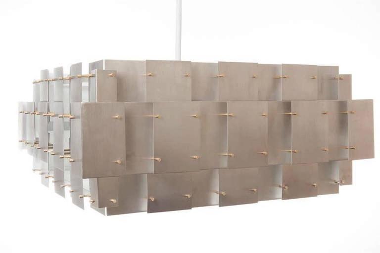 Mid-Century Modern Large Brushed Steel Chandelier after Robert Sonneman For Sale