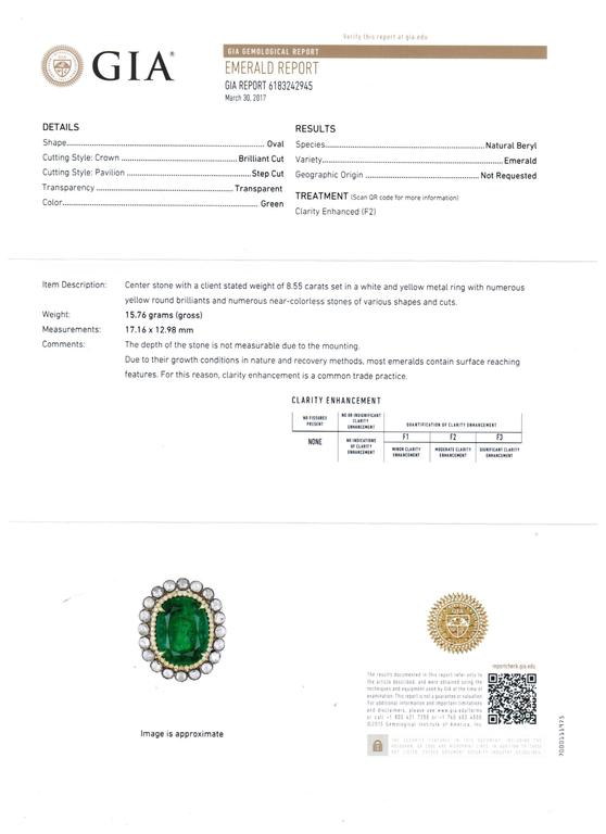 GIA Certified Emerald Diamond Double Halo Two Color Gold One of a Kind Ring For Sale 5