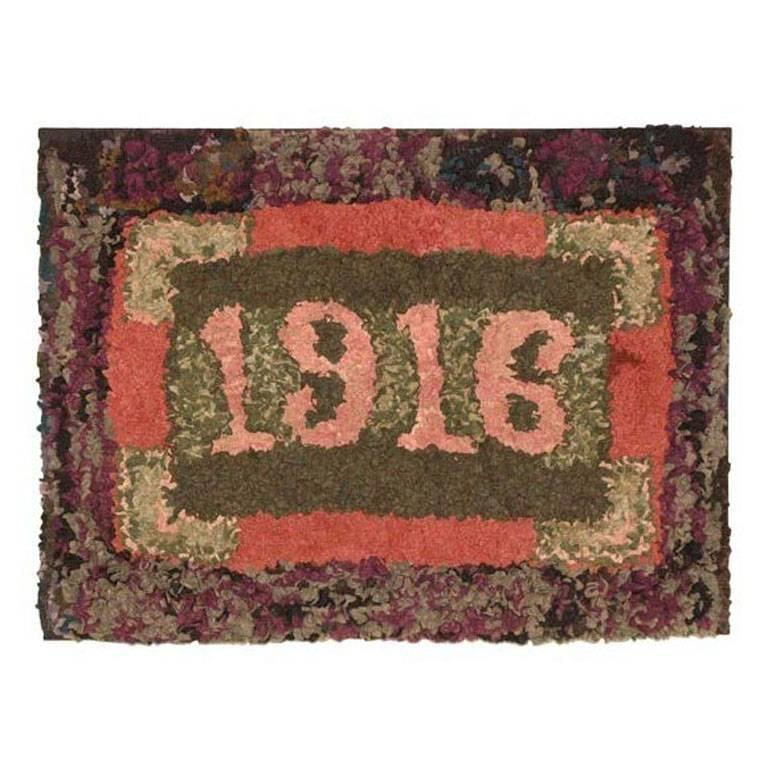 Folky Dated 1916 Mounted Hand-Hooked/ Shirred Rug