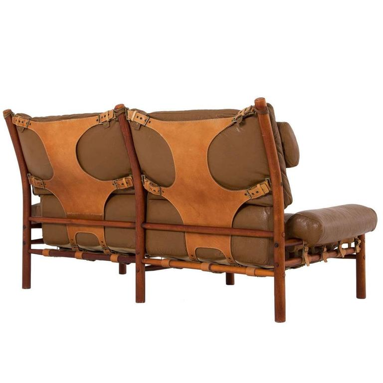 Cognac Buffalo Leather 'Inca' Sofa by Arne Norell 1