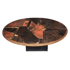 """Large Slate Stone Coffee Table by Paul Kingma, Signed """"Kingma 1981"""""""