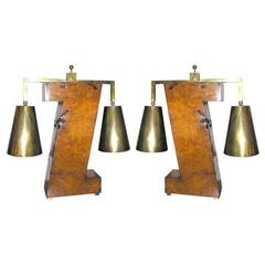 Pair of 1950s Architectural Table Lamps