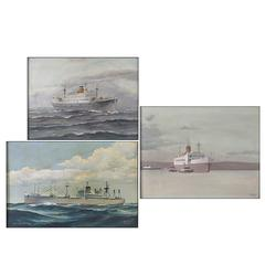 Three Early 20th Century Nautical Paintings, Oil on Canvas