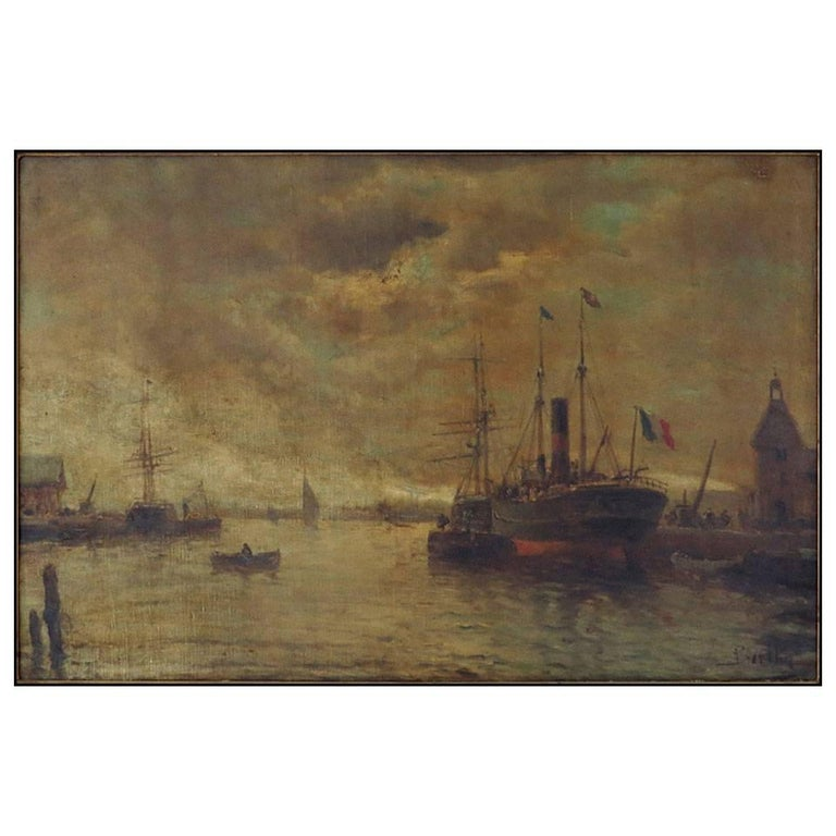 "French Ships at Dock, Signed Illegibly ""LR 'Barlhey"" in a Giltwood Frame For Sale"