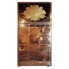 Distressed Glass Venetian Style Pier Mirror of Neoclassical Inspiration