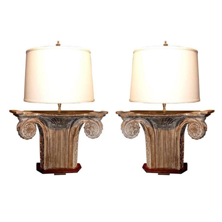 Pair of Architectural Fragments Mounted as Lamps