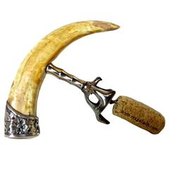 Sterling & Boar's Tusk Corkscrew Wine Bottle Opener, circa 1880