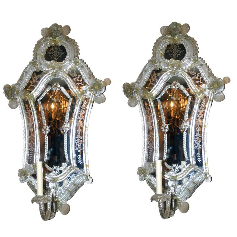 pair of large venetian mirror sconces for sale at 1stdibs