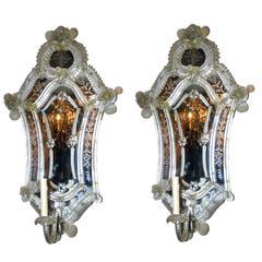 Pair of Large Venetian Mirror Sconces