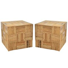 Pair of Square Vintage Split Bamboo Occasional Tables