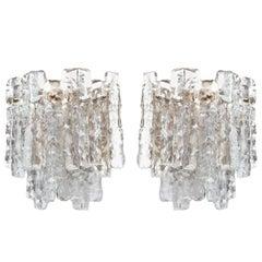 Ice Glass and Brass Sconces by JT Kalmar