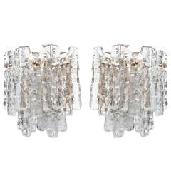 Pair of Two-Tier Ice Glass and Brass Sconces by JT Kalmar