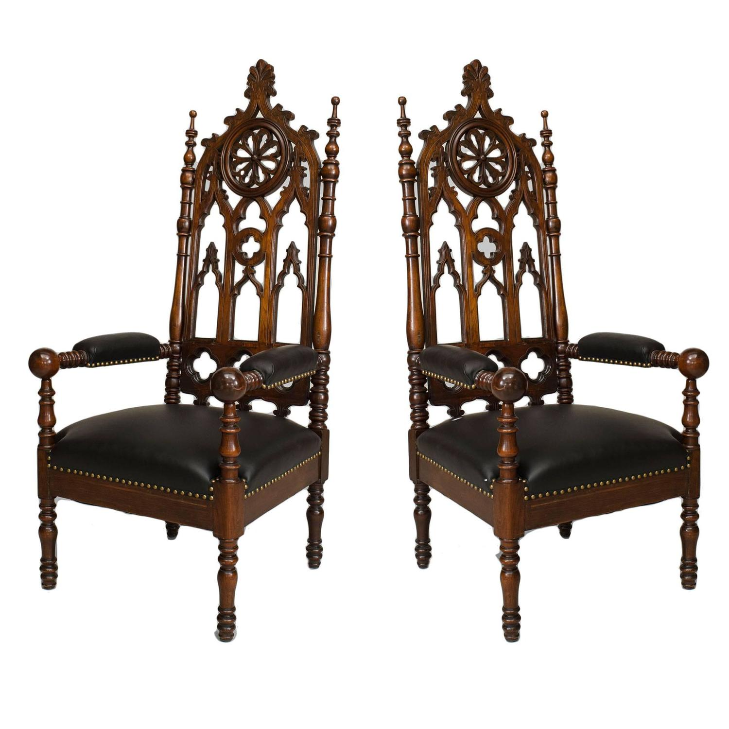 Pair Of 19th C English Gothic Revival Carved Mahogany