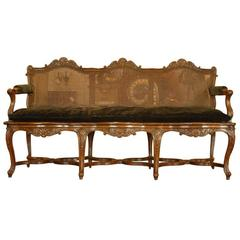 19th Century Regence Style Walnut French Cane Settee, Shell Motif