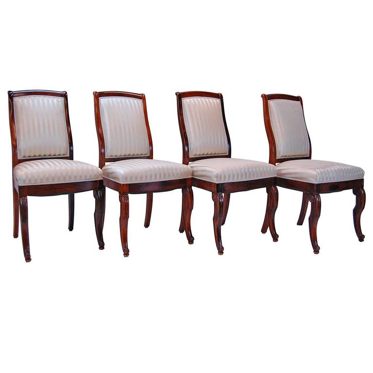 19th Century French Rosewood Side Chairs, Set of Four For Sale