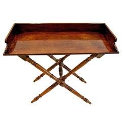 19th Century Mahogany English Butler's Tray Table on Folding Turned Base, 1860