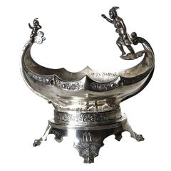 Indian Figural Silver Plated Fruit Bowl, circa 1880s