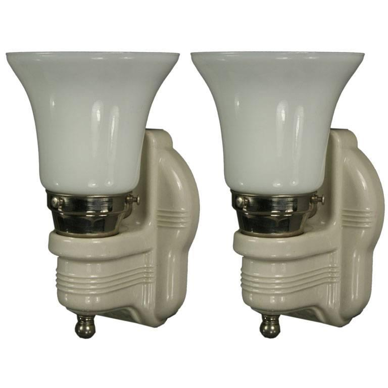Pair of Porcelain Sconces with Milk Glass Shades at 1stdibs