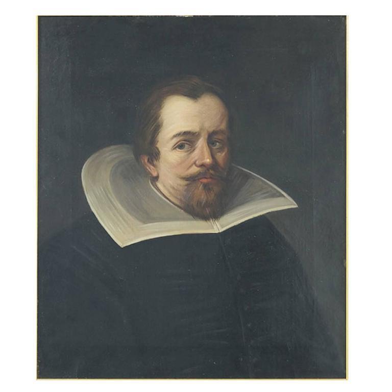 19th Century English Portrait, Oil on Canvas in Ebonized Wood Frame
