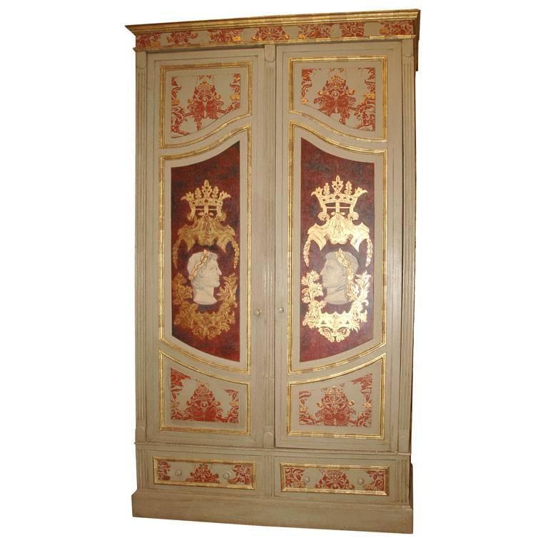 Grand scale italian painted armoire at 1stdibs for Armoire grande hauteur