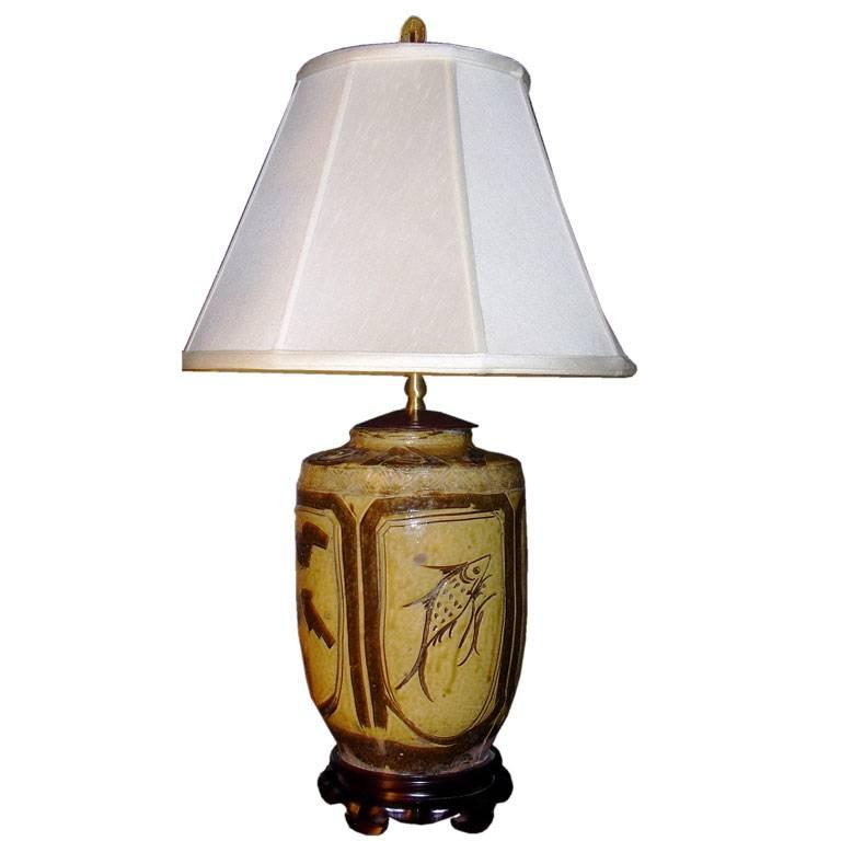 19th Century Chinese Jar Converted into Lamp
