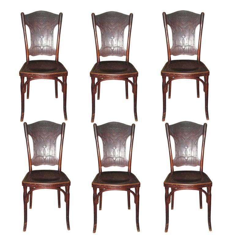 Six Austrian Bentwood Chairs Signed J.J.Kohn/Thonet For Sale
