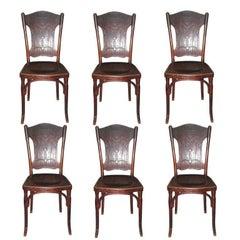 Six Austrian Bentwood Chairs Signed J.J.Kohn/Thonet