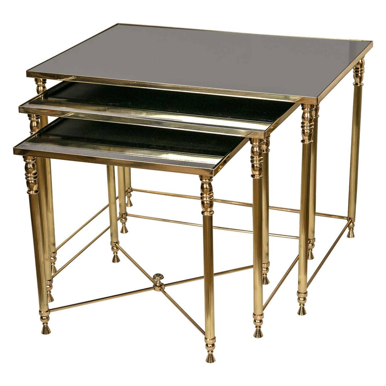 Set of Vintage French Brass Neoclassical Style Nesting Tables