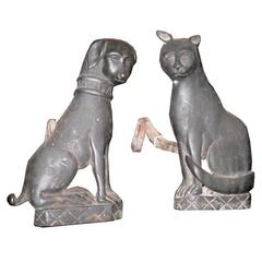 Pair of Early Cat and Dog Bronze or Brass Andirons